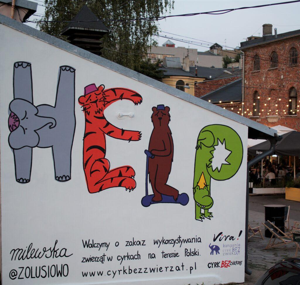 mural przeciwko tresurze zwierząt na Piotrkowskiej 217