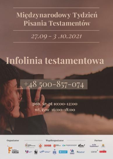 Infolinia testamentowa dla osób zainteresowanych prawem spadkowym. Tylko w dniach 27.9 - 4.10 w godzinach 10-12 i 16-18 - sprawdź szczegóły na www.napisztestament,org.pl